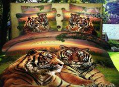 New Arrival Beautiful Lifelike Tigers Print 4 Piece Bedding Sets/Duvet Cover Sets  @bedding inn