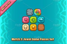 Match 3 Jewel Game Pieces Set by Vectricity Designs on @creativemarket