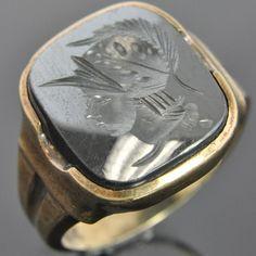 5ac796721d96 Antique 10K Yellow Gold Art Deco Intaglio Centurion Hematite Cameo Mens  Ring 8