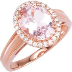 68513 / 14kt Rose / Morganite and 1/6 CTW Diamond Ring