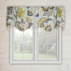 Charlton Home Karson Modernism Lined Scallop Window Valance Color: Aegean Valences For Windows, Small Windows, Tier Curtains, Valance Curtains, Valance Patterns, Kitchen Valances, Window Styles, Draped Fabric, Contemporary Style