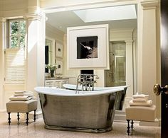 See Classic Home Interior Design Through Modern Decorating Style Lens Thomas Pheasant home interior design classic via modern Photography by Durston Saylor Modern and classical style. Combination of Modern Classical Home Interior Design by Thomas Pheasant Modern Classic Bathrooms, Modern Bathroom Design, Bathroom Interior, Bathroom Designs, Bath Design, Architectural Digest, Architectural Elements, Home Design, Home Interior Design