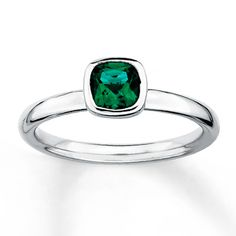 Stackable Ring Lab-Created Emerald Sterling Silver $44.99