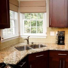 awesome creamy subway tile backsplash with brown wooden cabinet and granite countertop aslo simple kitchen sink and nice folding curtain for best small