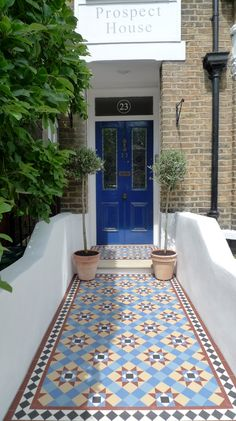 victorian mosaic garden tile path yorkstone steps black heath greenwich london# … - All About Balcony Victorian Front Garden, Victorian Hallway, Victorian Front Doors, Victorian Tiles, Victorian Gardens, Victorian Terrace, Victorian Flooring, Hall Tiles, Tiled Hallway