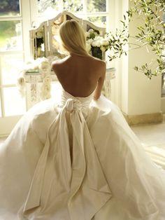Gorgeous white satin gown - via Laced in Weddings #weddingdress #ballgown #whitesatin