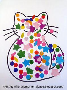 22 mois: Collage de gommettes dans un chat Collage, Lectures, Baby Love, Ps, Creations, Cats, Animaux, Collages, Collage Art