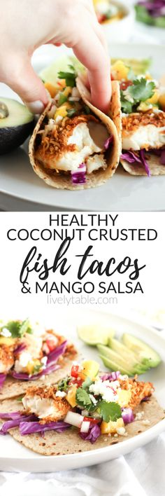 Crunchy Coconut Fish Tacos topped with a fresh mango salsa are the perfect tacos for a Cinco de Mayo fiesta or any time of year! They're baked, not fried, so you can indulge healthfully. Perfect for Cinco de Mayo! | via livelytable.com