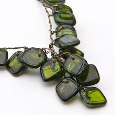 Green Beaded Necklace, Geometric Style Jewelry, Art Deco Jewelry, Fall Jewelry via Etsy