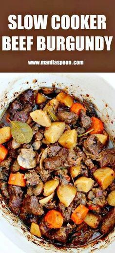 Beef chunks are simm Beef chunks are simmered in red wine in the... Beef chunks are simm Beef chunks are simmered in red wine in the slow cooker and results in a melt-in-your-mouth delicious stew. Make this crockpot version of the classic French Beef Stew - Boeuf Bourguignon. Recipe : http://ift.tt/1hGiZgA And @ItsNutella http://ift.tt/2v8iUYW