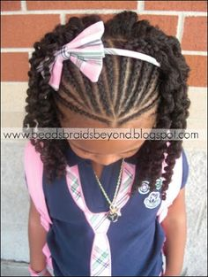 Beads, Braids and Beyond: Half Cornrows with Three Strand Twist Out Kinky,Curly, Relaxed, Extensions Board. Lil Girl Hairstyles, Natural Hairstyles For Kids, Kids Braided Hairstyles, My Hairstyle, Hairstyle Ideas, Hair Updo, Short Hairstyles, Hairstyles 2016, Popular Hairstyles