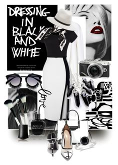 """BLACK & WHITE"" by kari-c ❤ liked on Polyvore featuring Rochas, Moschino, Balenciaga, Ice, Shoe Republic LA, rag & bone and Deborah Lippmann"