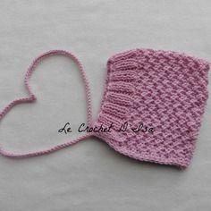 Bonnet bebe forme beguin  retro merinos/ coton rose dragee