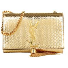 Saint Laurent Small Monogramme Tassel Clutch Gold in gold, Shoulder... (£1,855) ❤ liked on Polyvore featuring bags, handbags, gold, shoulder strap handbags, shoulder handbags, yves saint laurent handbags, gold metallic handbags and metallic handbags