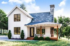 Plan Modern Farmhouse Cabin with Upstairs Loft This is a modern farmhouse style cabin plan that sleeps a couple on the main floor and friends upstairs in the loft.A wrap-around covered porch gives views on three sides of your property.The cabin i Small Farmhouse Plans, Modern Farmhouse Exterior, Modern Farmhouse Style, Modern Cottage, Farmhouse Architecture, Classical Architecture, Ancient Architecture, Landscape Architecture, Cottage House Plans