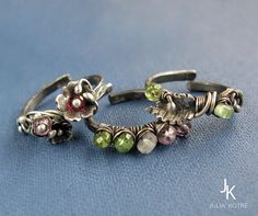Sterling silver set of stacking rings with gemstones by JewelryJS