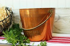 Vintage Solid Copper Bucket  Pail  Brass Handle  by JulesTresors, $16.00