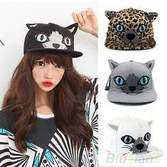 Hot Girl Cat Ear Hip-Hop Flat-Brimmed Hat Adjustable Baseball Cap Snapback  B28U. Casquette BaseballCaps HatsWomen ... 5ddcf026d14e