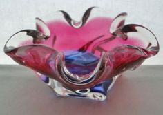 SMALL FLOWER Form SCULPTURAL Art Glass BOWL Ashtray CZECH or MURANO Mid Century