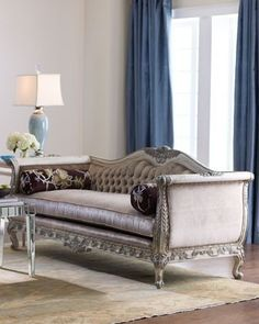 Ornate Sofa Frame Is Wrapped In Luxurious Velvet Upholstery With Embossed  Velvet On The Outback And