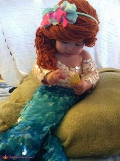 disfraz hecho a mano para bebé de la sirenita muy original  #diy #carnaval #disguises #carnival #crafts #funny #dressup #costumes #original #hechoamano #niños #kids #sirenita #mermaid