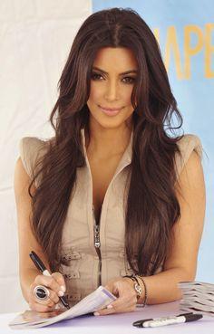 Polished Kim Kardashian Hairstyle Long Loose Wavy 26 Inches Lace Front Real Human Hair Wig - My list of women's hair styles Medium Brown Hair, Long Brown Hair, Long Hair With Bangs, Haircuts For Long Hair, Wedding Hairstyles For Long Hair, Hairstyles Haircuts, Cool Hairstyles, Brown Hairstyles, Hair Bangs