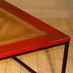 Table Basse Parquet Petit Carré Pieds Fer