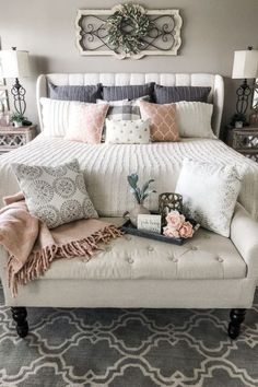 40 Beautiful Bedroom Decorating Ideas / Contrasting patterns in muted tones create a restful bedroom, while wall-mounted lights keep the bedside clear. Mix and match bedlinen in simple block-printed p Farmhouse Master Bedroom, Master Bedroom Design, Master Suite, Walnut Bedroom, Motif Simple, Affordable Rugs, Room Decor Bedroom, Bed Room, Ikea Bedroom