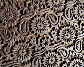 Indian wooden block stamp with a lovely floral (mum-ish? Life Symbol, Metal Trim, Wooden Blocks, Textile Prints, Indian Art, Animal Print Rug, Floral Design, Art Pieces, Pottery