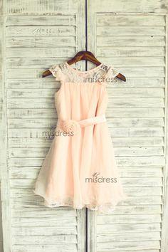 Blush Pink Lace Chiffon Flower Girl Dress Cap Sleeves by misdress