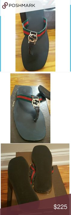 Authentic Gucci GG Thong Flip Flop Sandals Size 8 Brown Leather, Gold Logo, Red & Green Straps. In Very Good Pre-owned Condition! Size 8.  Box not included. Fast Immediate Priority Shipping! Please view my closet for additional designer items.Thank you. Gucci Shoes Sandals