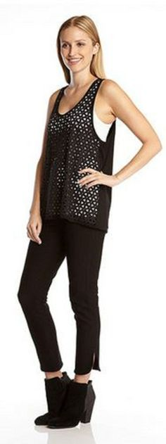 Black Laser Cut Tank Top #Karen_Kane #Laser #Cut #Tank_Top #Fashion