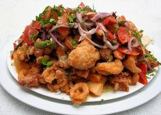 Jalea (pescado y mariscos) - Peruvian Appetizer fish and seafood. One of my favorite foods.