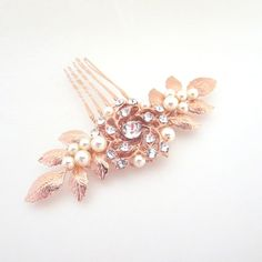 Small Bridal hair comb Rose Gold hair comb Leaf by treasures570
