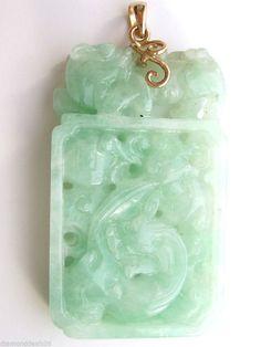 Estate Vintage Fine Green Lucky Jade Pendant 14K Yellow Gold 25.2 Grams #Handmade #Pendant