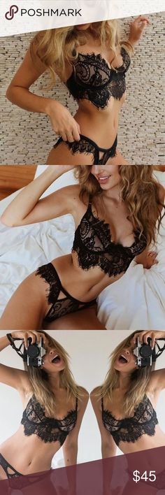 Black Lace Bra Set Brand new.  Before leaving a comment: 🌹No trades 🌹Use the offer button for offers 🌹No lowballs or rude comments 🌹Item is unbranded 🌹I only sell on posh 🌹I do not model 🌹I only have the sizes/colors listed 🌹I ship same day or next day 🌹If I don't respond, it's because your question was answered here! Intimates & Sleepwear