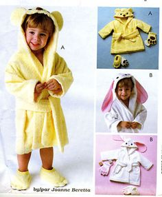 Really cute pattern to make this Toddler Size 1-4 Robe Bath Mitt Slippers Pattern  #sewing #bunny #bear