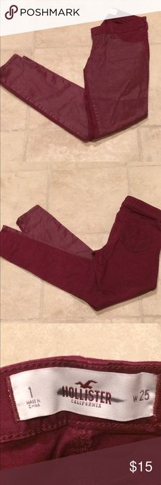 MAK AN OFFER- Hollister, maroon skinny jeans soft and stretchy in back, pleather material in front Hollister Pants Skinny