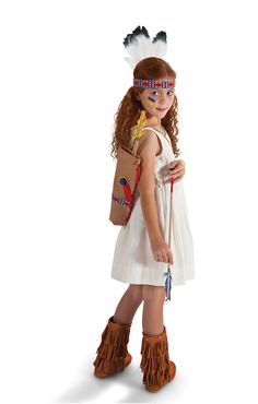 DIY Kids' Halloween Costume-Indian Princess From the closet: Cream dress and boots Add: Native American accessories ($22 to $40) Get this exact look: D-Signed by Disney dress ($25; Target stores) Frontier Fun dress-up collection ($22 to $40; MAGICCABIN.COM) Mudd fringe boots ($60; KOHLS.COM)
