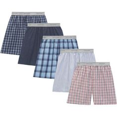 Fruit of the Loom Men's Soft Stretch Waistband Woven Boxers, 5-Pack