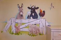 boerderijdieren muurschildering jongenskamer