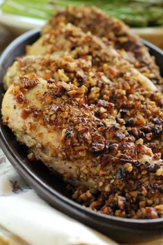 Pecan Crusted Chicken: This quick-and-easy-dinner recipe will have you looking like you've worked all day on dinner! In reality, you can make this delicious meal with just 3 ingredients in under 30 minutes. Vegaterian Recipes, Pecan Recipes, Fodmap Recipes, Whole 30 Recipes, Dairy Free Recipes, Appetizer Recipes, Dinner Recipes, Cooking Recipes, Whole 30 Chicken Recipes