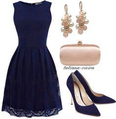 A very stylish dark blue dress Navy Dress Outfits, Blue Dress Shoes, Komplette Outfits, Dressy Outfits, Stylish Outfits, Blue Dresses, Fashion Outfits, Womens Fashion, Navy Dress Accessories