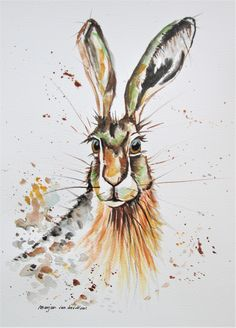 original hare art in Fall colors, autumn colours, hare art, bunny, rabbit, pet portrait, baby gift, room decor, wildlife art, nature artwork by marjansart on Etsy
