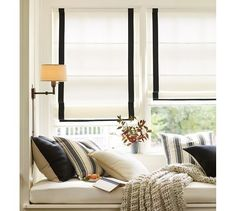 Grosgrain Ribbon Cordless Roman Shade | Pottery Barn