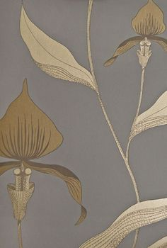 Orchid Floral Wallpaper Restyled Dark Grey wallpaper with large illustrated orchid design in metallic Gold.