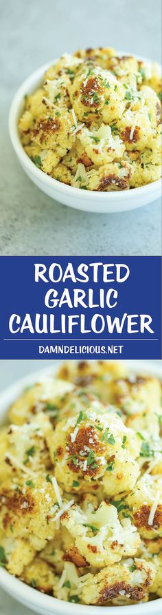 Roasted Garlic Cauliflower - A super simple and fast side dish to accompany any meal. Even the pickiest of eaters will be begging for seconds and thirds!