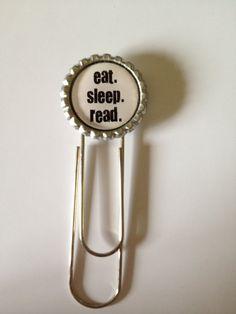 Bottle Cap Paper clip Bookmark eat sleep read  by TKsThriftique, $5.00