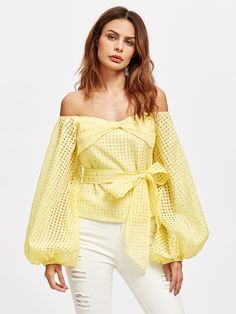 Shop Bow Off Shoulder Lantern Sleeve Belted Checkered Mesh Top online. SheIn offers Bow Off Shoulder Lantern Sleeve Belted Checkered Mesh Top & more to fit your fashionable needs.The Dramatic Pouf Sleeve off Shoulder Blouse is as fashionable as it is tren Girl Fashion, Fashion Outfits, Womens Fashion, Tunic Tank Tops, Eyelet Top, Sport Chic, Blouse Designs, Off Shoulder Blouse, Shoulder Tops