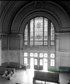 Lexington Union Station open 8-4-1907 w/arrival of Chesapeake & Ohio pass train No.24, fronted Main St, west of Walnut St, which is now Martin Luther King. Ext. red & yellow brick, green & red glass, lobby in center rotunda (50'x80'w/central dome 50' high), Roman arch ceiling & 6 oak waiting benches.  05-09-1957 last pass. train departs (Chesapeake & Ohio's George Washington). Station closed due to high overhead & low pass. travel, and in March 1960 building demolished. photo taken…